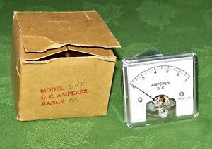 Vintage Model 649 D c Amperes 0 1 Panel Meter New In Box 2 5 8 X 2 1 2 Inches
