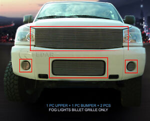 Billet Grille Grill Combo For Nissan Titan Armada 2004 2005 2006 2007