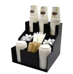 Cup Lid Dispenser Organizer Coffee Condiment Holder Caddy Coffee Cup Rack