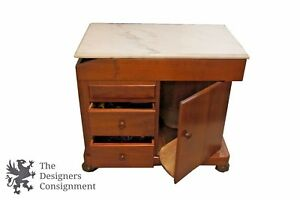 Antique Medical Examination Stand Gynecologist Cabinet Doctors Table Marble Top