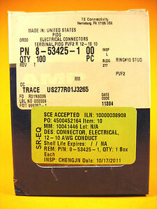 Amp 8 53425 1 Electrical Connectors Terminal 100pcs 12 10 Awg