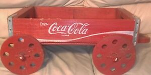 VINTAGE COCA COLA WOODEN CARRIER WAGON ON WHEELS*VERY NICE