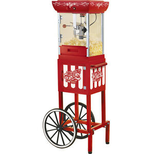 Popcorn Machine W Vintage style Cart Stand Old Fashioned Style Popper Ccp399