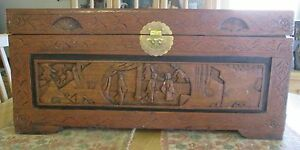 Vgt Asian Chinese Hand Carved Wood Camphor Blanket Chest Beautiful Detail