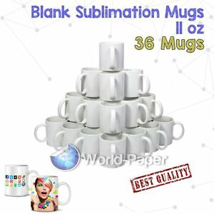 Sublimation Mugs White 11oz Coated Cup Blank Heat Press Printing Transfer 36ct