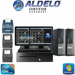 Aldelo 2018 Pro Restaurant Bar Pizza Two Pos Stations Windows 7 New I3 4gb Ram