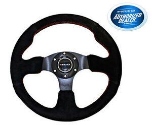 Nrg Steering Wheel Black Suede With Red Stitch 320mm Type r Style Rst 012s rs