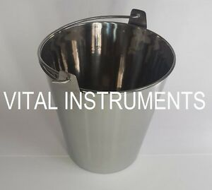 Stainless Steel Bucket Pail 9 Qt Dog Kennel Farm Water Milk Feeding Heavy Duty