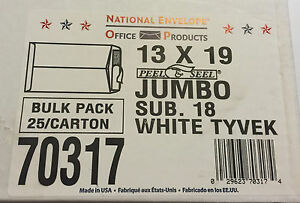 13 X 19 18 Tyvek Non tear Open End Self Seal Catalog Envelopes 25 Count carton