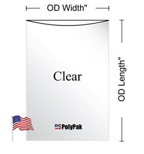 25 1000 2mil Clear Poly Bags Lay flat Open Top Llpe Plastic 2ml Thick Polybags