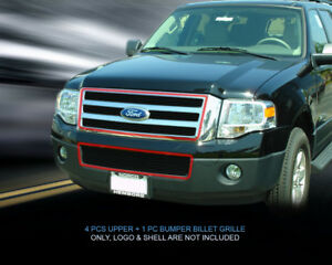 Fits 2007 2014 Ford Expedition Black Billet Grille Grill Combo Grill