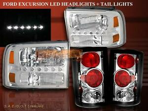 2000 2004 Ford Excursion Chrome Clear Led Headlights And Tail Lights Combo
