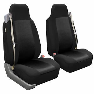 Black 3d Air Mesh Fabric Auto Seat Covers Pair Integrated Seat Belt For Ford