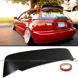 For 92 95 Honda Civic Hatchback Bys Style Matte Black Rear Roof Spoiler Wing