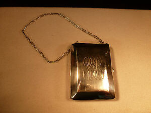 Antique Genuine Sterling Silver Flapper Coin Purse With Chain Downton Abbey