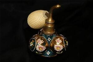 Rare Shape Antique Bohemian Blue Perfume Bottle Atomizer Hand Painted Enamel