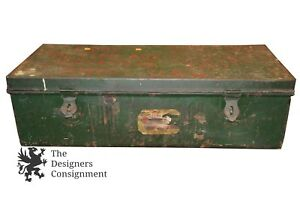 Vintage Green Military Style Foot Locker Travel Trunk Chest Storage Case Ohio