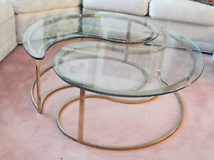 Pair Of 70s Hollywood Regency Yin Yang Brass Plated End Table Coffee Table