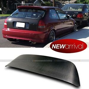 For 96 00 Civic 3dr Ek9 Spoon Style Full Carbon Fiber Trunk Spoiler Roof Wing