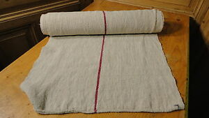 Homespun Linen Hemp Flax Yardage 7 Yards X 22 Red Stripes 6329