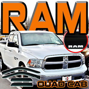 09 18 Ram 1500 Quad Cab Side Window Visor Sun Deflectors Rain Guards Vent Shades