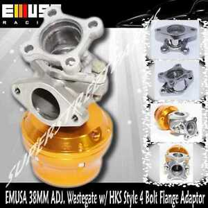 Emusa 38mm Adj Turbo Wastegate steel Adaptor For Replace Hks Wastegate 4 Bolts