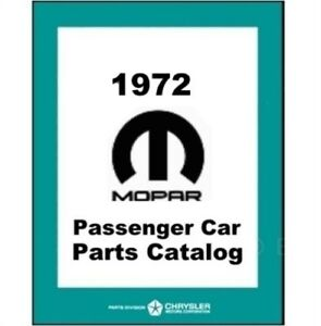 Illustrated Mopar Parts Manual For 1972 Plymouth Dodge Chrysler Imperial