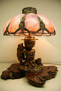 Austrian Russian Bronze Slag Glass Arts Crafts Black Forest Cigar Lighter Lamp