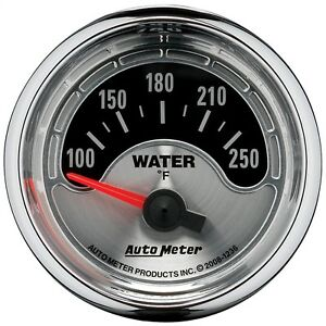 Autometer 1236 American Muscle Electric Water Temp 100 250 Degree Gauge 2 1 16