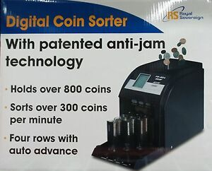 Royal Sovereign Digital 4 row Electric Coin Sorter Counter Counting Machine 22
