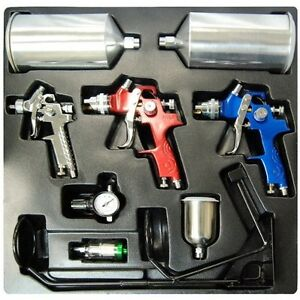 new spray Gun Set Of 3 Maintenance Kit For Autopaint primer touchup Free Ship