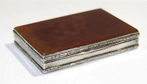 Antique French Sterling Gilt Silver Amber Agate Box Circa 1890