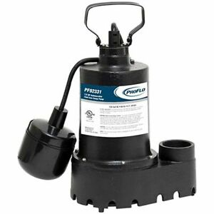 Proflo Pf92331 1 3 Hp Cast Iron Submersible Sump Pump W Tether Float Switch