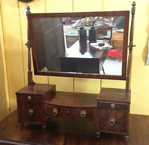Antique Hepplewhite Style Dressing Table Stand Swing Mirror