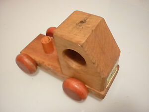 Vintage 1970 S Kids Toy Car Truck Solid Wood Marked Dated 1979