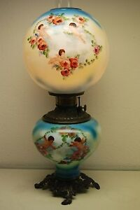 Antique Glass Kerosene Oil Gwtw Cherub Roses Banquet Parlor Victorian Angel Lamp