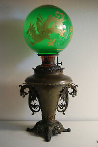 Antique Kerosene Oil Gwtw B H Chinese Dragon Emerald Green Gilded Victorian Lamp