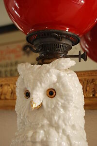 Antique Dresden German Messein Area Porcelain Flower Snow Owl Oil Whimsical Lamp