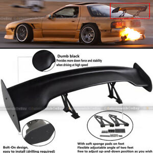 For 240sx Jdm 57 Gt Style Adjustable Bracket Down Force Spoiler Wing Abs Black