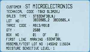 2500 Sts3dnf30l Dual N channel Fet 30v 3 5a 65m Logic Soic 8 Smd Smt Mosfet