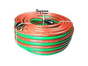 1 4 X 50ft Oxygen Acetylene Twin Rubber Welding Hose 200psi Home Work Shop