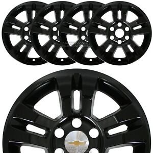 4 Gloss Black 14 20 Silverado Tahoe 18 Wheel Skins Hub Caps Aluminum Rim Covers