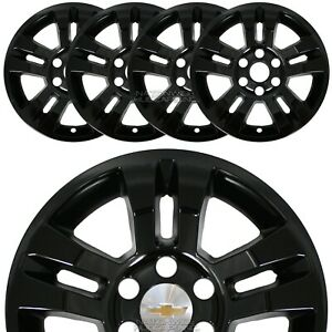 4 Gloss Black 14 18 Silverado Tahoe 18 Wheel Skins Hub Caps Aluminum Rim Covers