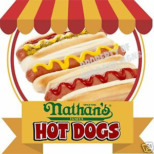Nathan s Hot Dogs Decal 14 Food Truck Concession Cart Cater Restaurant Sticker