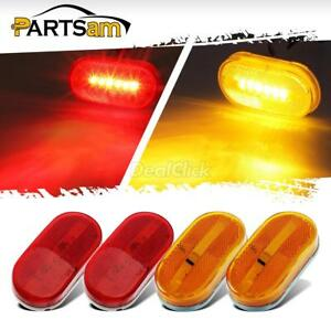 2 Red 2 Amber 6 Led Rectangle Clearance 12v Side Marker Lights Trailer Camper