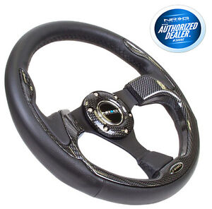 Nrg Steering Wheel 320mm Sport Leather Carbon Fiber Inserts Pilot Pilota Style