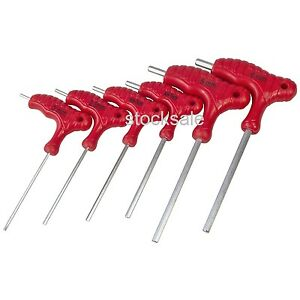 6pc T handle Hex Key Set 2 2 5 3 4 5 6mm Allen Key Wrench Double Ended Cr v