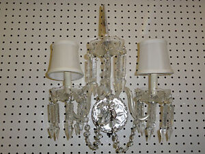 Elaborate Waterford Crystal Double Arm Light Wall Sconce With Cut Prism Drops