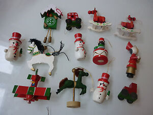 Vintage Lot Of 13 Christmas Tree Ornament Wood Hand Painted Junk Drawer