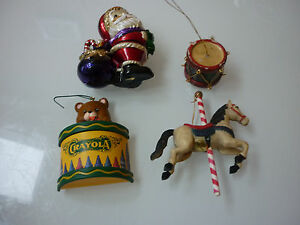 Vintage Lot 4 Christmas Tree Ornaments Santa Drum Horse Teddy Bear Crayola
